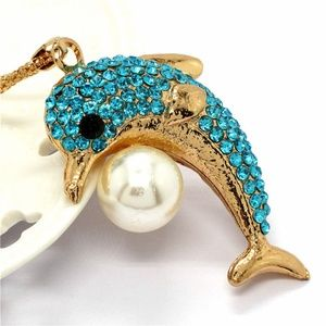 Jewelry - New Blue Crystal Dolphin Fish Pearl Necklace Long
